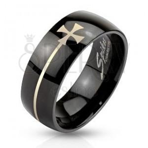 Fekete színű gyűrű acélból máltai kereszttel