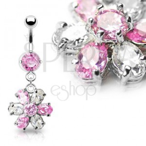 Luxus köldök piercing - rózsaszín és tiszta cirkónia köves