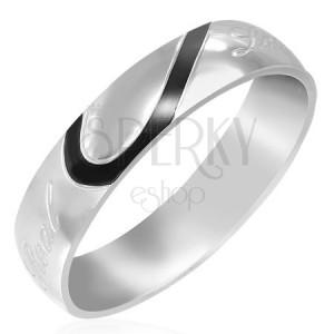 """Acél karikagyűrű - """"Real Love"""" felirat gravírozással"""