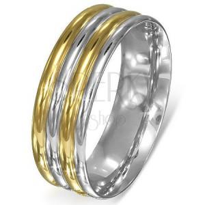 Gyűrű acélból - ezüst-arany domború sávok