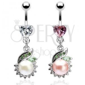 Köldök piercing - luxus, gyöngy és zöld levél