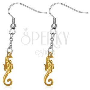 Acél fülbevaló - a függőt arany színű tengeri csikó díszíti