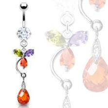 Luxus köldök piercing - színes virág és piros könnycsepp
