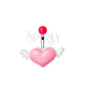 Acél piercing a köldökbe rózsaszín-fehér színű repülő szívvel