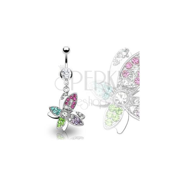 Gyönyörű luxus köldök piercing - cirkonköves színes virág