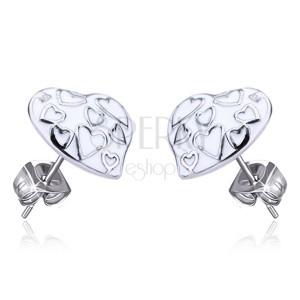 Fülbevaló acélból - fehér mázas szívek, bedugós