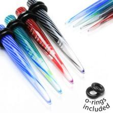 UV akril fültágító - spirál örvény minta, két fekete gumi