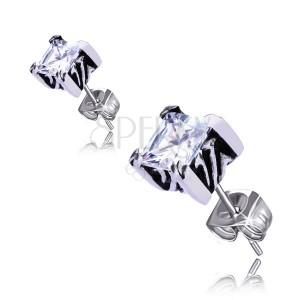 Stekkeres fülbevaló acélból - négyzet alakú cirkóniával díszítve