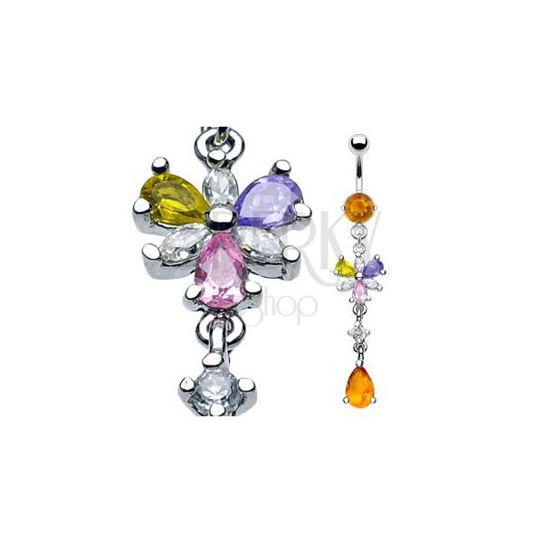 Luxus köldök piercing - virág és méz cirkónia