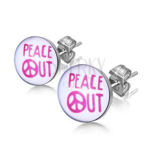 """Acélfülbevaló - """"PEACE OUT"""" felirat kör alapon"""