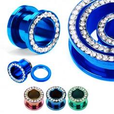 Színes, anodizált, titánium alagút a fülbe - cirkóniák körbe rendezve