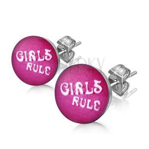 """Fülbevaló acélból - """"GIRLS RULE"""" felirat karikában"""