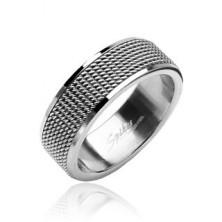 Gyűrű sebészeti acélból - rácsos felület, fényes szegélyek