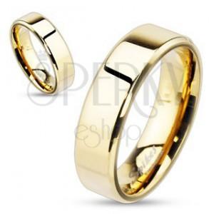 Nemesacél gyűrű arany színű kivitelben ferde oldalakkal, 6 mm