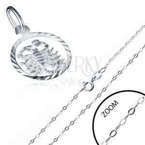 Fényes ezüst nyaklánc medállal a SKORPIÓ jegyében