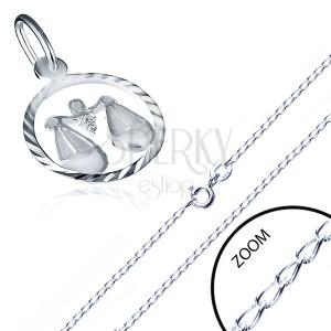 Nyaklánc 925 ezüstből - a horoszkóp jegyében, MÉRLEG medál