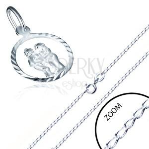 Fényes, sterling ezüst nyaklánc - medál a horoszkóp jegyében, IKREK
