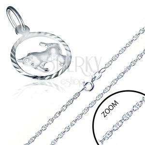 925 ezüst nyaklánc - spirálos lánc, medál a BIKA jegyében