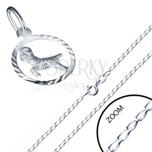 Fényes nyaklánc és medál ezüstből - sima láncszemek, KOS csillagjegy