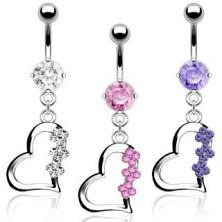 Titánium köldök piercing három virággal