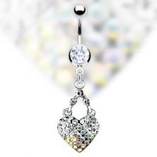 Köldök piercing - tiszta és szivárvány köves szív medál