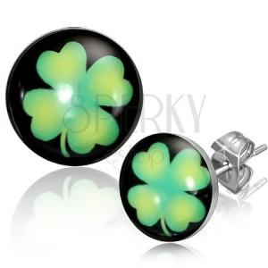 Bedugós fülbevaló acélból - körlap zöld lóherével