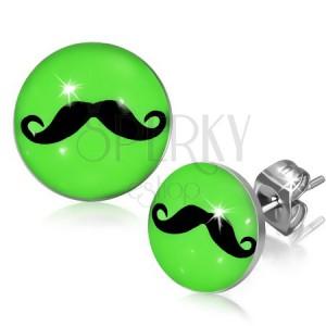 Neonzöld bedugós fülbevaló acélból, fekete bajusszal