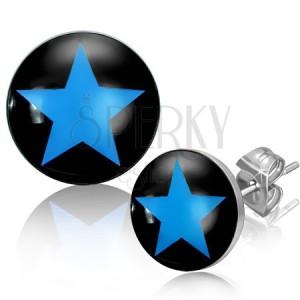 Nemesacél fülbevaló kék csillaggal, fekete alapon