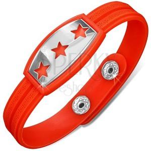 Piros-narancs gumikarkötő, tábla csillagokkal
