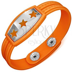 Karkötő gumiból - narancsszínű, csillagok és görög motívum