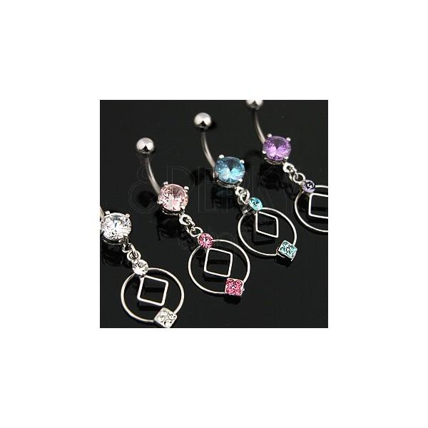 Köldök piercing titániumból, kör, kocka, cirkónia