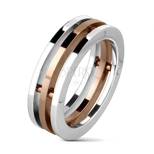 Csatolt hármas gyűrű acélból - ezüst és arany színben