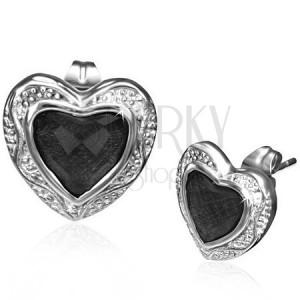 Acélfülbevaló - fekete kő ezüstös szívkeretben