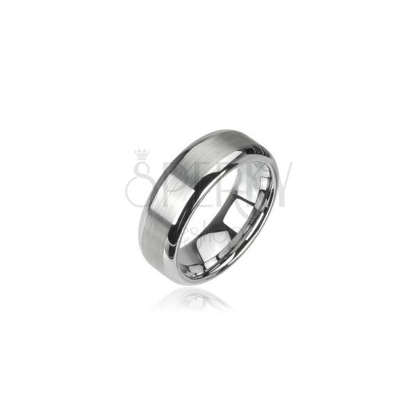 Wolfram gyűrű - csiszolt sáv, fényes szélek, 8 mm