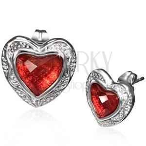 Fényes fülbevaló acélból - csiszolt piros szív díszes keretben