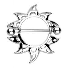 Mellbimbó piercing - lyukacsos napsugarak, 2 darab
