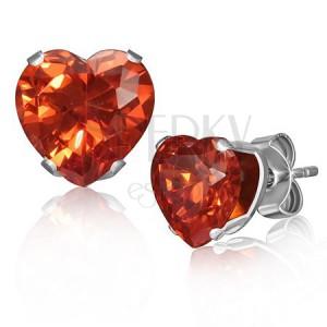 Fülbevaló acélból - szívecskés narancsárga kő