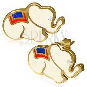 Acél fülbevaló - fehér elefánt cirkóniával, arany szegélyek