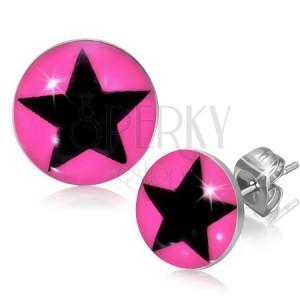 Bedugós fülbevaló acélból - csillag a rózsaszín körben