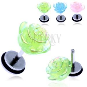 Fake piercing a fülbe acélból - szívárvány ragyogású rózsa