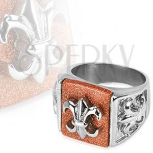 Pecsétgyűrű acélból - Fleur de Lis csillogó alapon