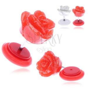 Hamis piercing a fülbe akrilból - ragyogó rózsa