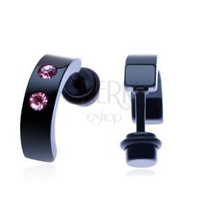 Fake plug acélból - fekete megszakított karika, két pink cirkónia