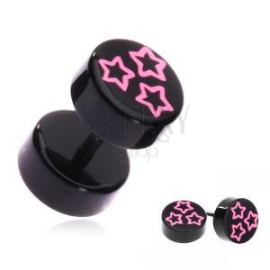 Akril fake piercing a fülbe - rózsaszín csillagok a fekete keréken