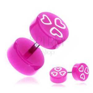 Fake fülpiercing acélból - rózsaszínlila korongok szívekkel