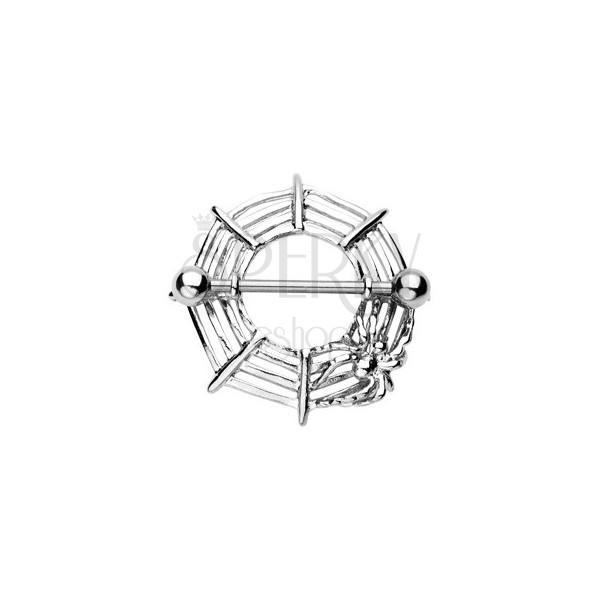 Mellbimbó piercing - pókháló és pók, 2db