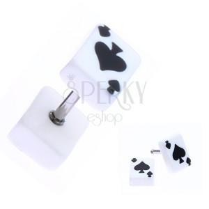Hamis plug akrilból - játék kártya, pikk szimbólum