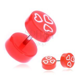 Fake piercing fülbe akrilból - narancssárga színben, szívek