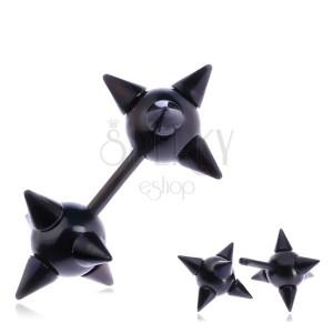 Hamis plug a fülbe acélból - tüskés fekete csillag