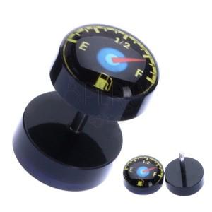 Fényes fake piercing a fülbe akrilból - üzemanyagmérő óra